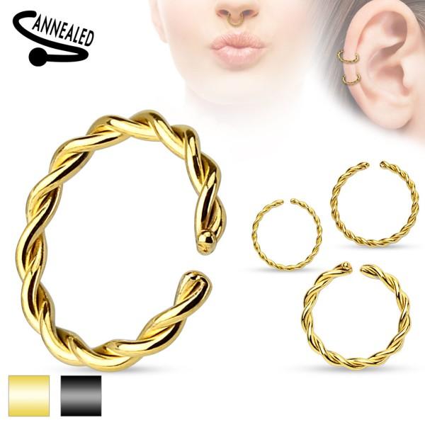 Kółko plecione złote czarne kolczyk do chrząstki ucha tragus helix cartilage piercing