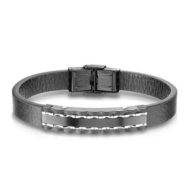 Beste Qualität, flaches, schwarzes Mikrofaser Leder, schwarze Platte aus rostfreiem Stahl, Armband f