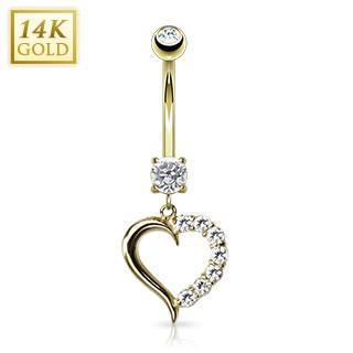Serce cyrkonie złoty kolczyk do pępka 14 karatowe złoto 585 piercing