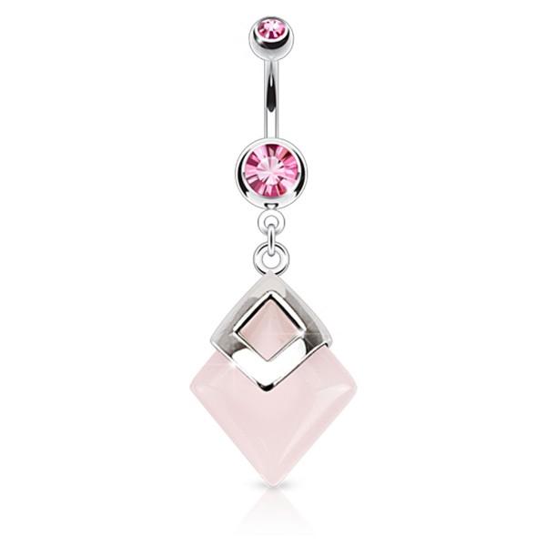 Kwadrat różowy kwarc kolczyk do pępka stal chirurgiczna 316L piercing