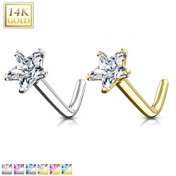 Gwiazdka cyrkonia kolczyk do nosa nostril piercing złoto 14 karatowe 585