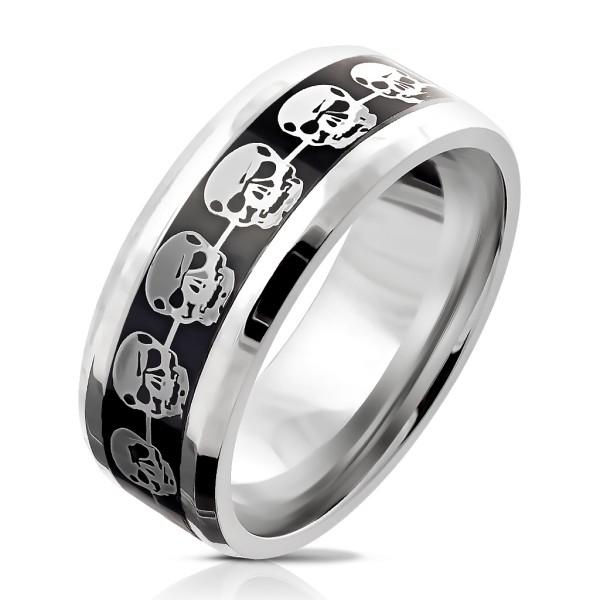 Srebrne czaszki pierścionek ze stali szlachetnej