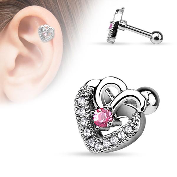 Serce różowy środek cyrkonie kolczyk do chrząstki ucha tragus helix cartilage stal chirurgiczna 316 L piercing