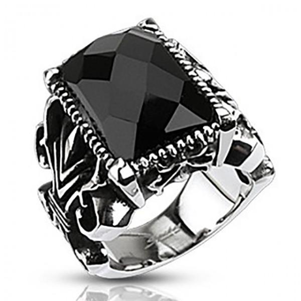 Kwadrat onyx szlifowany kamień zestaw gotycki pierścionek stal chirurgiczna 316L
