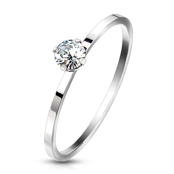 Zink, Runder Kristall auf einfachem Band, rostfreies Stahl, Verlobungsring