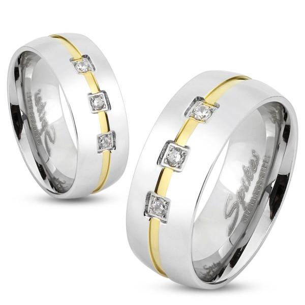Trzy cyrkonie pierścionek ze stali szlachetnej