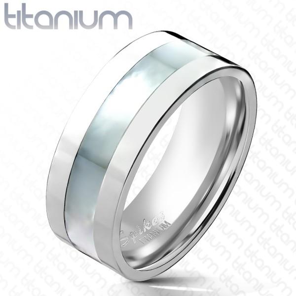 Perłowy środek obrączka pierścionek damski męski tytan