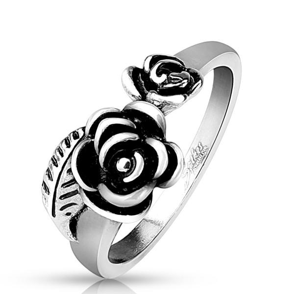 Róża liście pierścionek ze stali szlachetnej