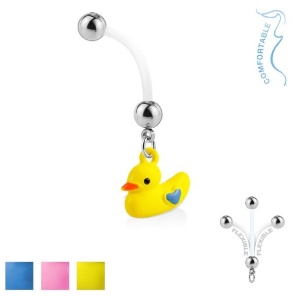 Duckling dangle w ciąży pępek pierścionki Bioflex z stal chirurgiczna 316L kulki