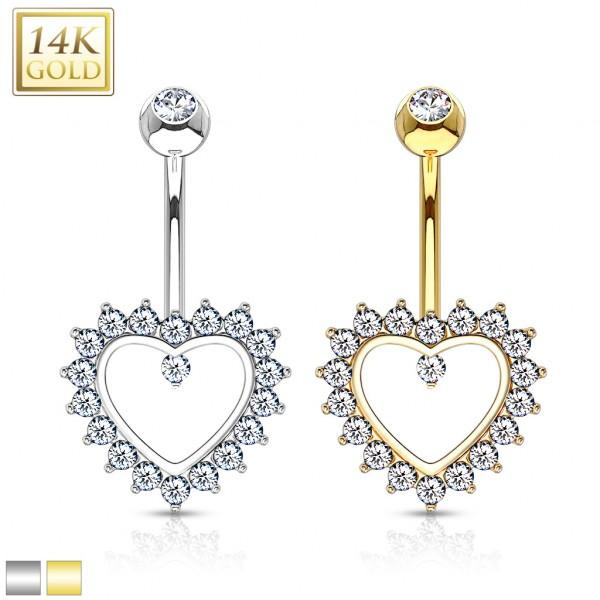 Serce cyrkonie kolczyk do pępka złoty piercing 14 karatowe prawdziwe złoto 585