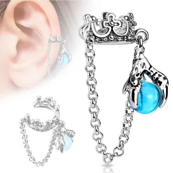 Korona smok łańcuszek nausznica kolczyk do ucha i chrząstki ucha piercing Ear cuff