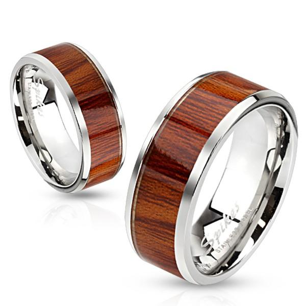Drewno stal szlachetna pierścionek