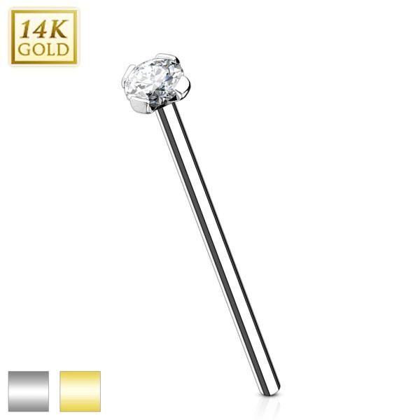 16mm prosty długi kolczyk do nosa cyrkonia Fishtail Nostril piercing prawdziwe białe złoto 585 14 karatowe