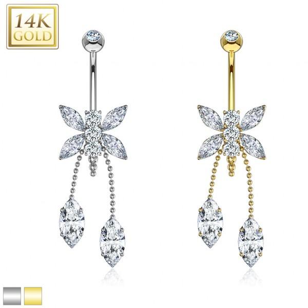 14 karatowe złoto 585 kolczyk do pępka złoty motyl piercing