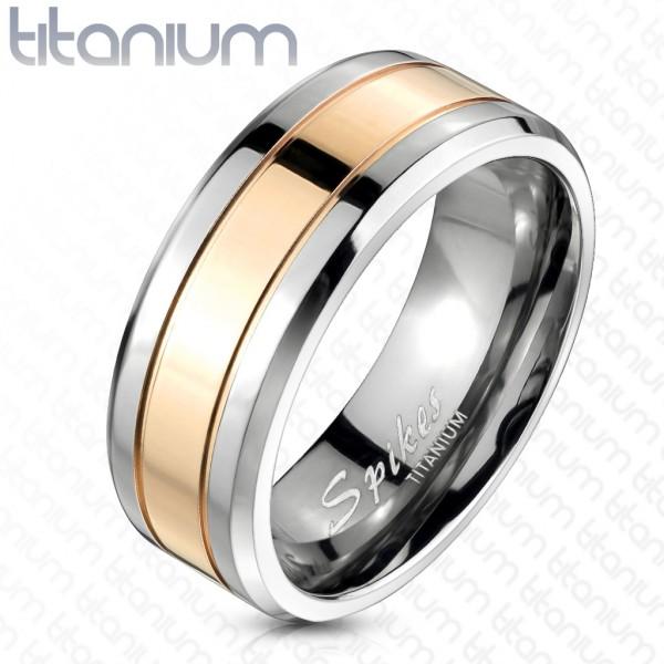 pozłacany różowym złotem pierścionek tytan