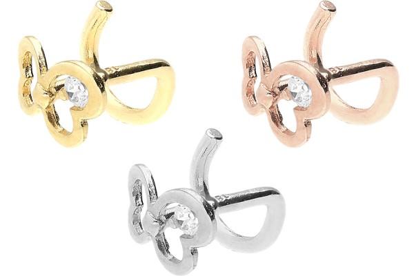 Złoto 18 karatowe kolczykk do piercingu nosa spirala kryształowy motylek