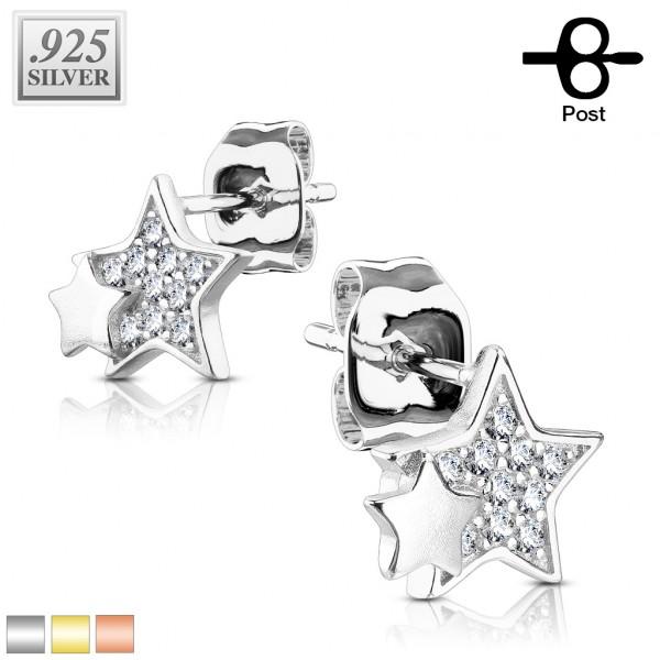 Gwiazdy cyrkonia srebro 925. kolczyki sztyfty 1 para