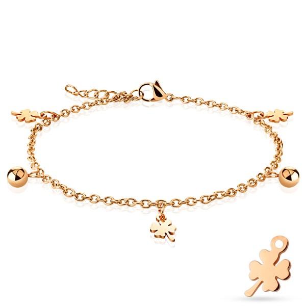 Shamrock i kulka wiszący charm różowe złoto stal szlachetna bransoletka dla pań