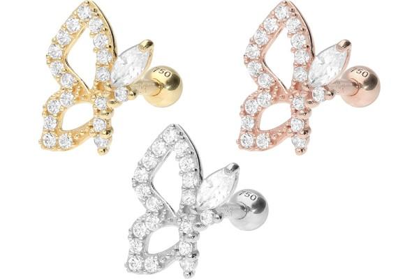 złoto 18 karatowe kolczykk do piercingu ucha helix motylek kryształki
