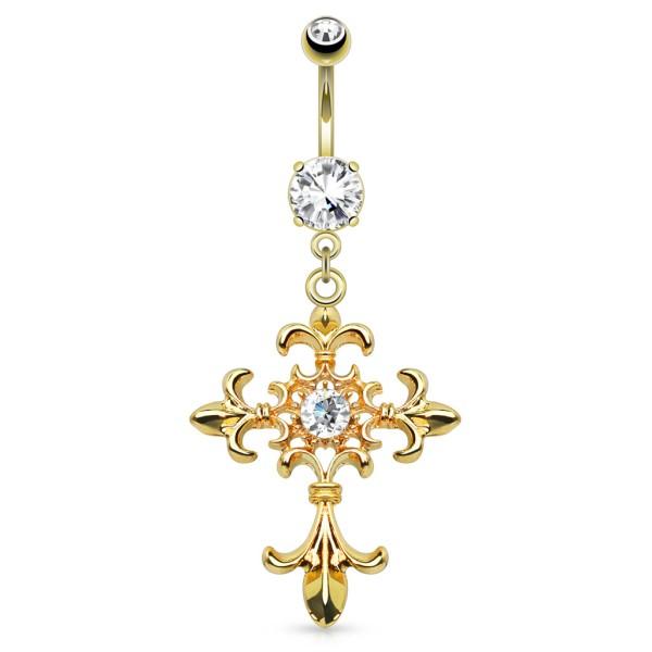 Krzyż Fleur de Lis kolczyk do pępka pozłacana stal chirurgiczna 316L piercing
