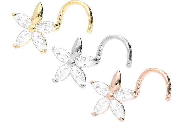 Złoto 18 karatowe kolczyk do piercingu nosa spirala kryształowy kwiatek