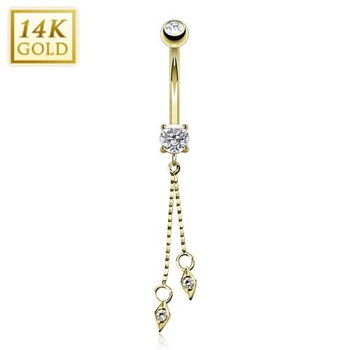 Liście banan kolczyk do pępka złoty piercing 14 karatowe prawdziwe złoto 585