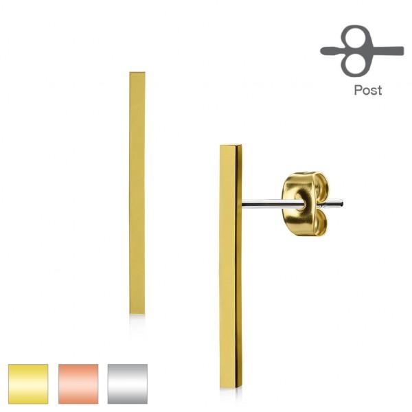 Jedna para długie eleganckie kolczyki sztyfty kolczyki proste stal chirurgiczna 316L