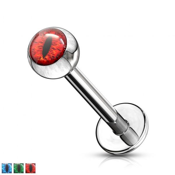 Czerwone Oko Węża kolczyk do piercingu ucha labret monroe helix sztanga gwint wewnętrzny