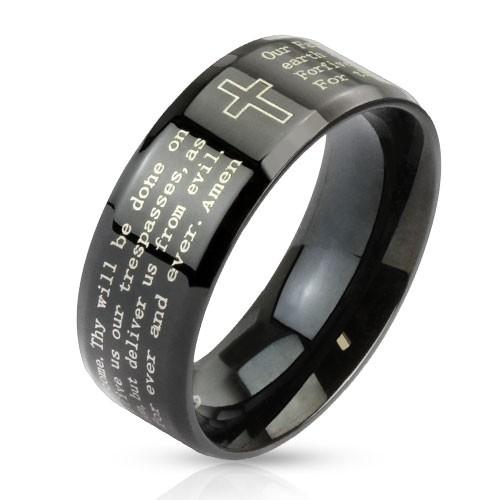 Krzyż i ojcze nasz angielski stal szlachetnaczarny pierścionek