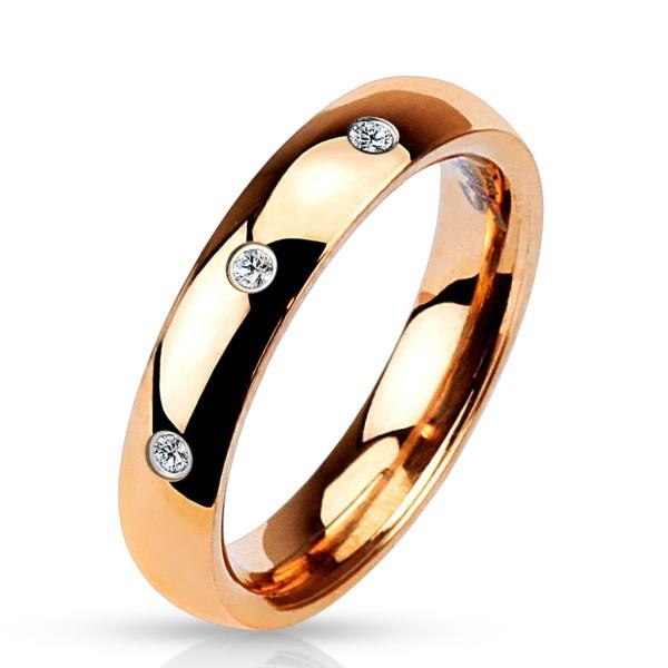 3 cyrkonia zestaw klasyczny pozłacany różowym złotem pierścionek stal chirurgiczna 316L
