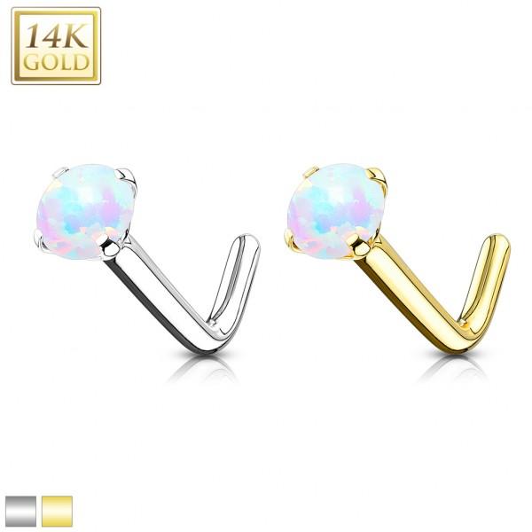 Opal kolczyk do nosa nostril piercing złoto 14 karatowe 585