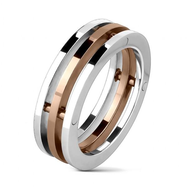 3 kręgi pierścionek damski męski ze stali szlachetnej