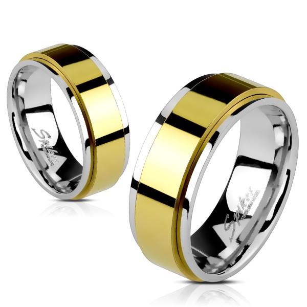 Złoty pierścionek damski męski ze stali szlachetnej