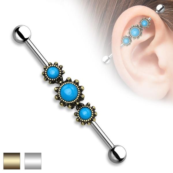 Turkus 3 kamienie kolczyk do chrząstki ucha Industrial Surface Bar barbell piercing