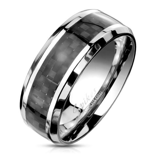Czarny pierścionek ze stali szlachetnej