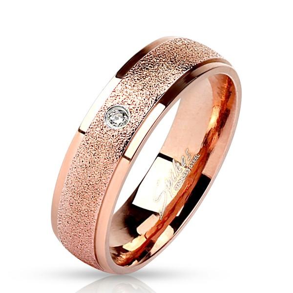 Przezroczyta cyrkonia pozłacany różowym złotem pierścionek ze stali szlachetnej