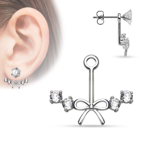 Kokardka Earring Jacket Dangle kolczyk ear cuff stud