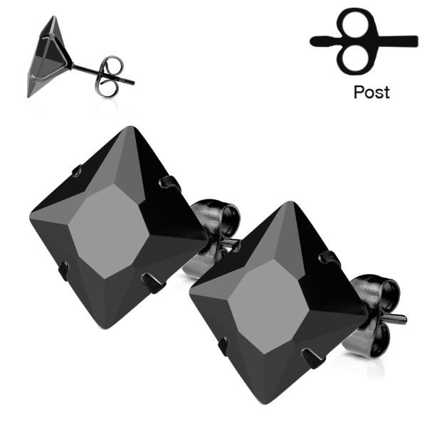 jedna para 316L czarna powłoka platerowany stal chirurgiczna kolczyk z princess czarna cyrkonia