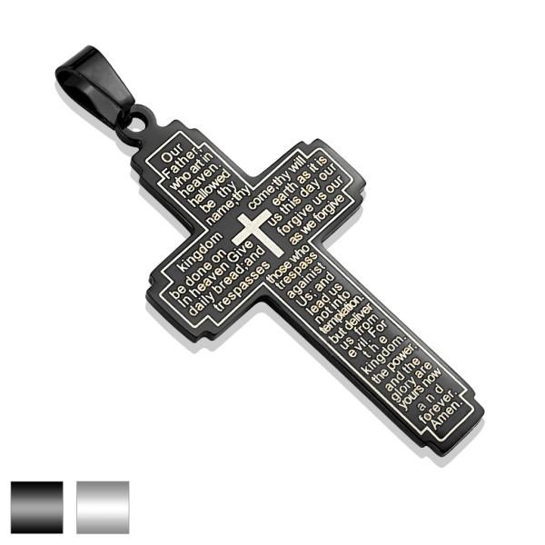 Pan na krzyż stal szlachetnaczarny zawieszka