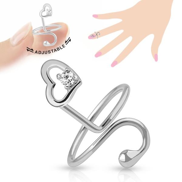Serce cyrkonie pierścionek na palec rozmiar dający się regulować