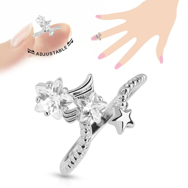 Gwiazdki cyrkonie pierścionek na palec rozmiar dający się regulować