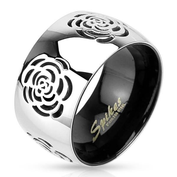 Róże srebrny pierścionek ze stali szlachetnej