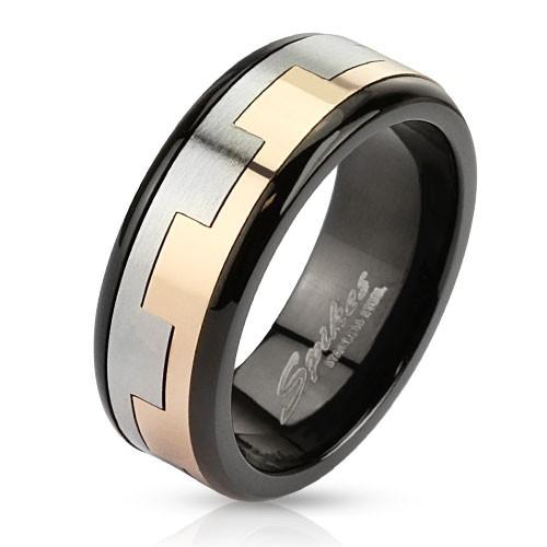 Kwadrat tarczaczarny pierścionek ze stali szlachetnej