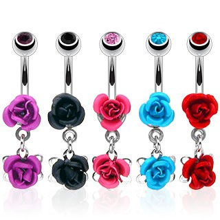 316L Surgical Steel Double Metal Rose Dangle Navel Ring with Gem Ball 50pc bulkPack (00pcs x 5 colors)