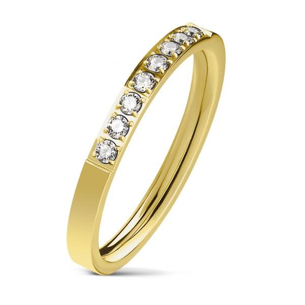 8 cyrkonii w jednej lini pozłacany pierścionek zaręczynowy stal szlachetna