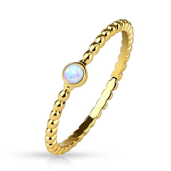 Opal złoty pierścionek z opalem na palec z cyrkoniami