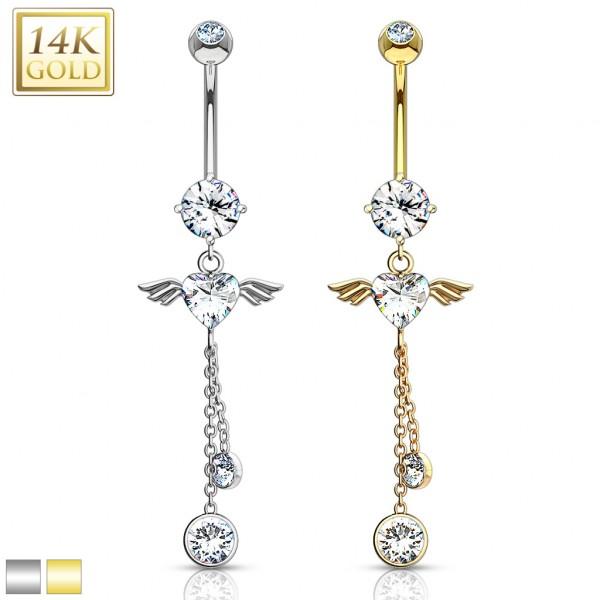 Skrzydła anioła kolczyk do pępka złoty piercing 14 karatowe prawdziwe złoto 585