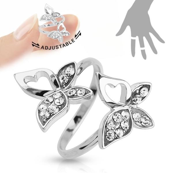 motylek cyrkonie pierścionek na palec rozmiar dający się regulować