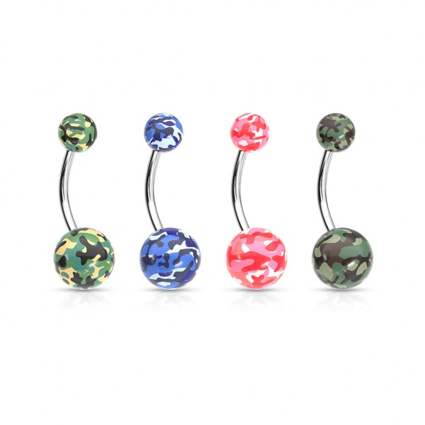 Camouflage Printed Balls Acrylic Navel Ring 48pcs Pack