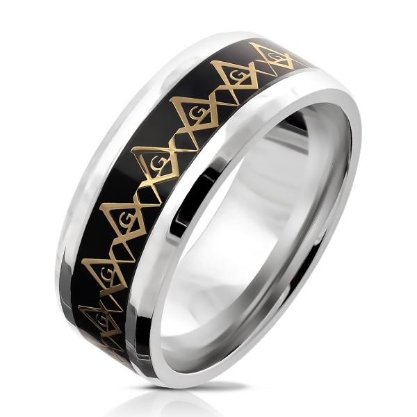 złoty Compass Repeating na czarny Background wnętrze pierścionek ze stali szlachetnej